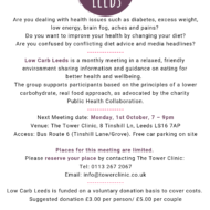 New LOW CARB LEEDS Group to be held at Tower Clinic on Monday, 1st October